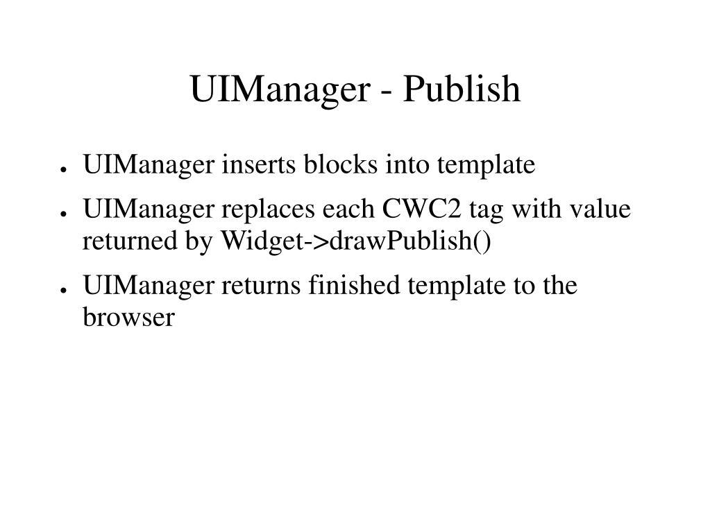 UIManager - Publish