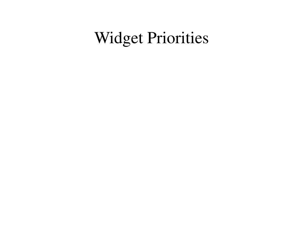 Widget Priorities