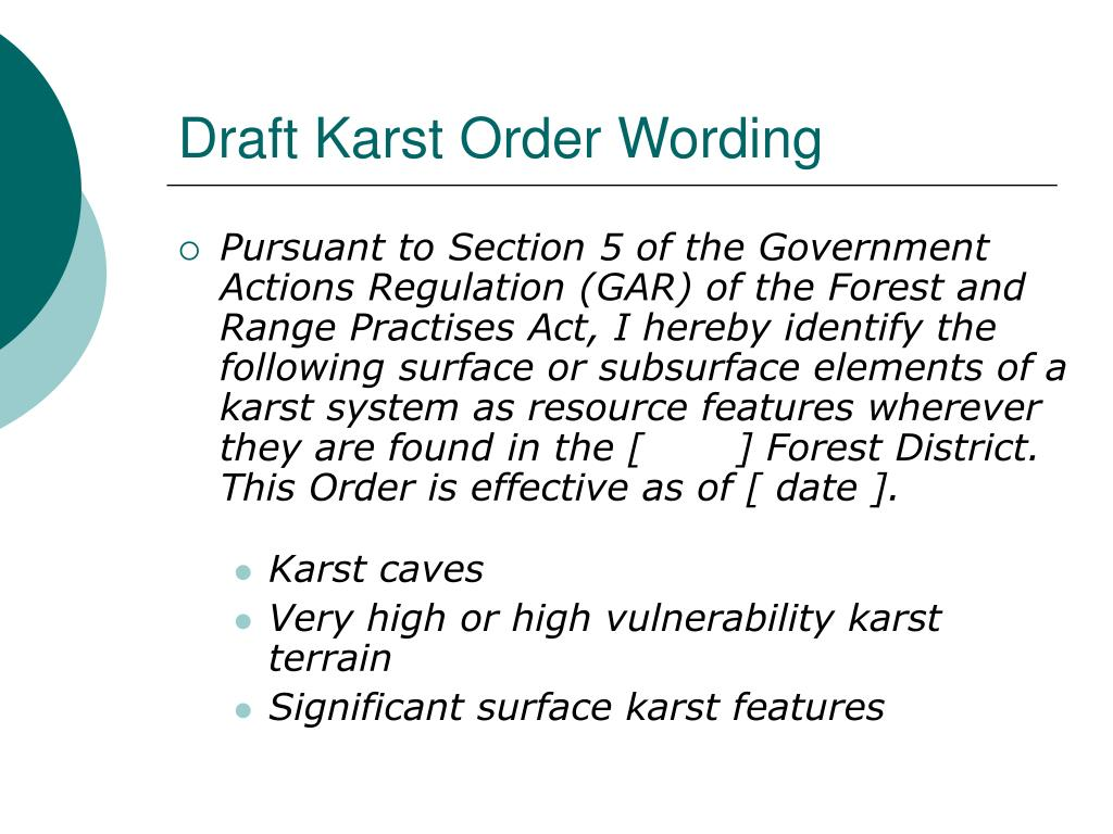 Draft Karst Order Wording