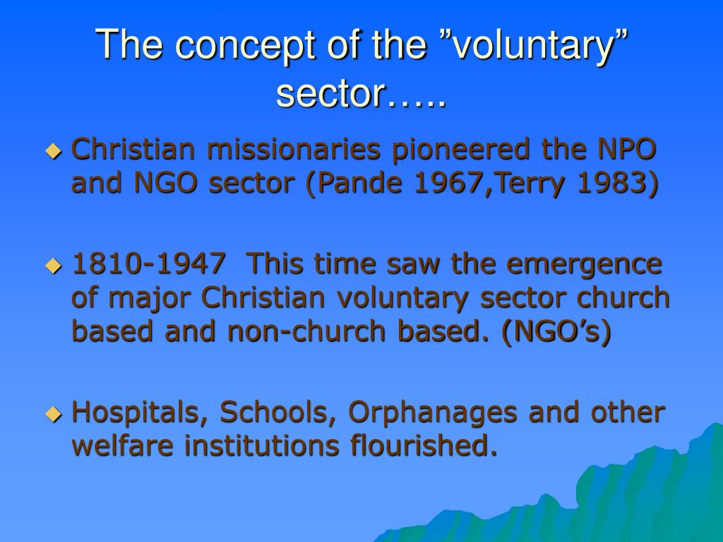 "The concept of the ""voluntary"" sector….."