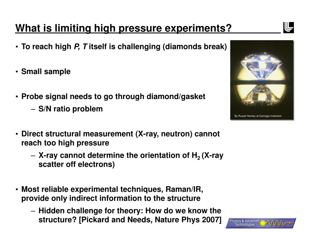 What is limiting high pressure experiments?