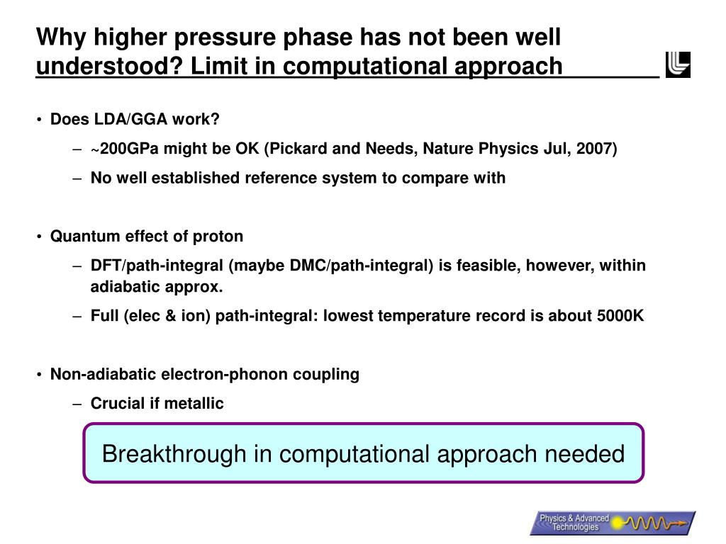 Why higher pressure phase has not been well understood? Limit in computational approach