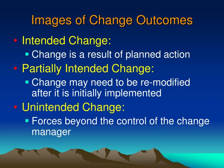 Images of change outcomes