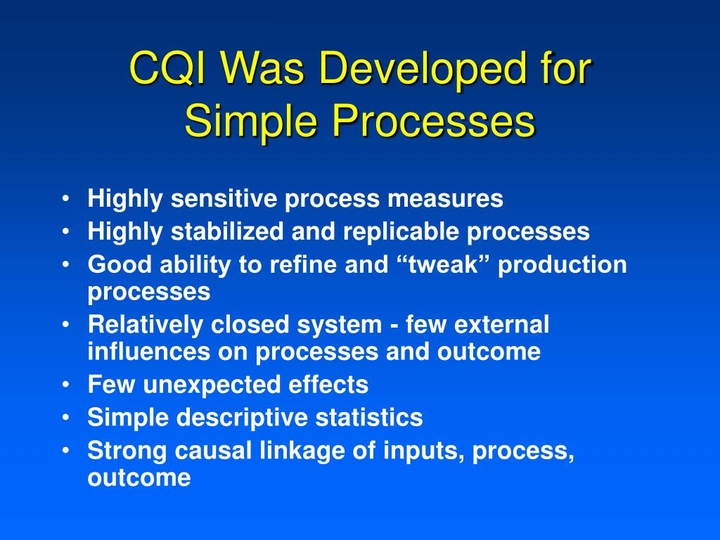 CQI Was Developed for Simple Processes