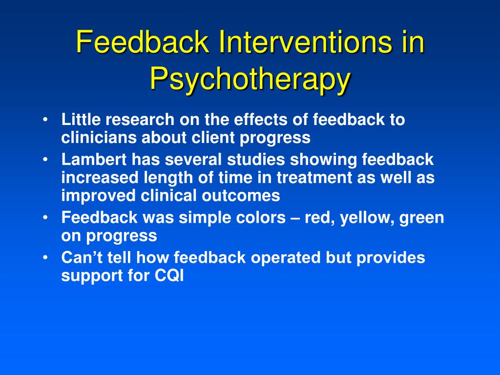 Feedback Interventions in Psychotherapy