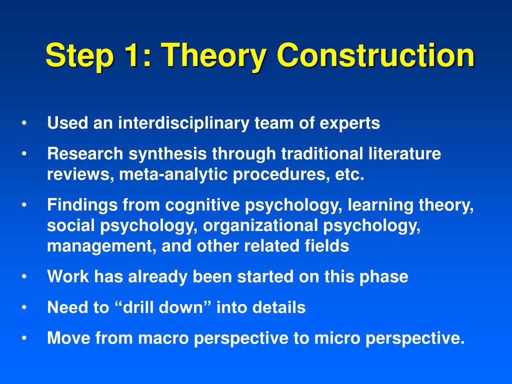 Step 1: Theory Construction