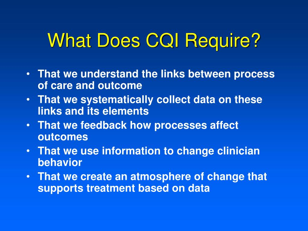 What Does CQI Require?