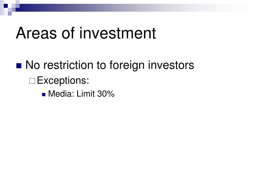 Areas of investment