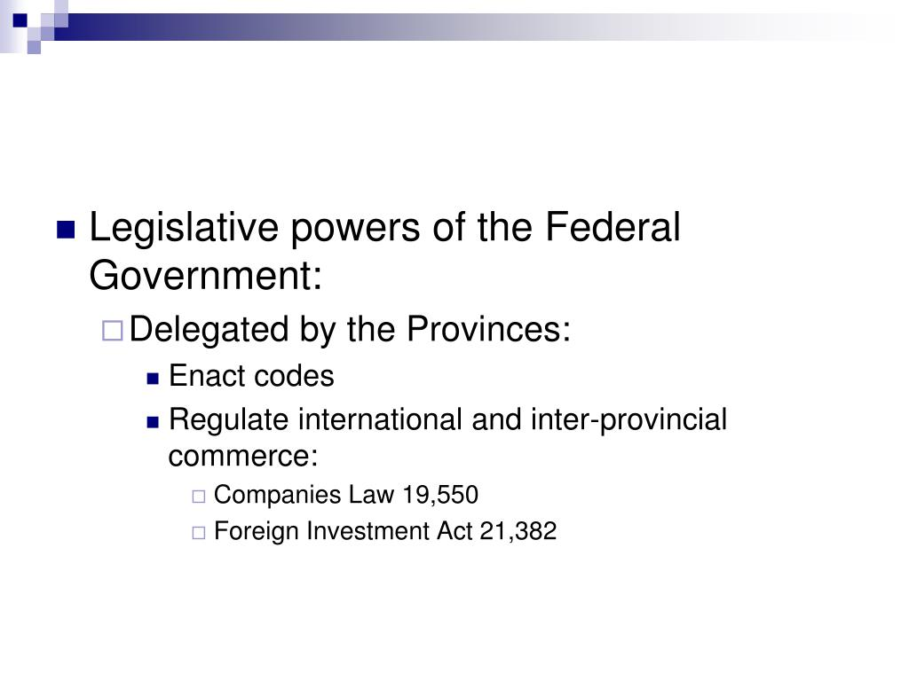 Legislative powers of the Federal Government:
