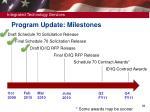 program update milestones