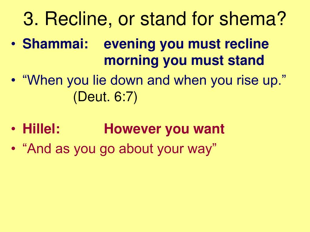 3. Recline, or stand for shema?