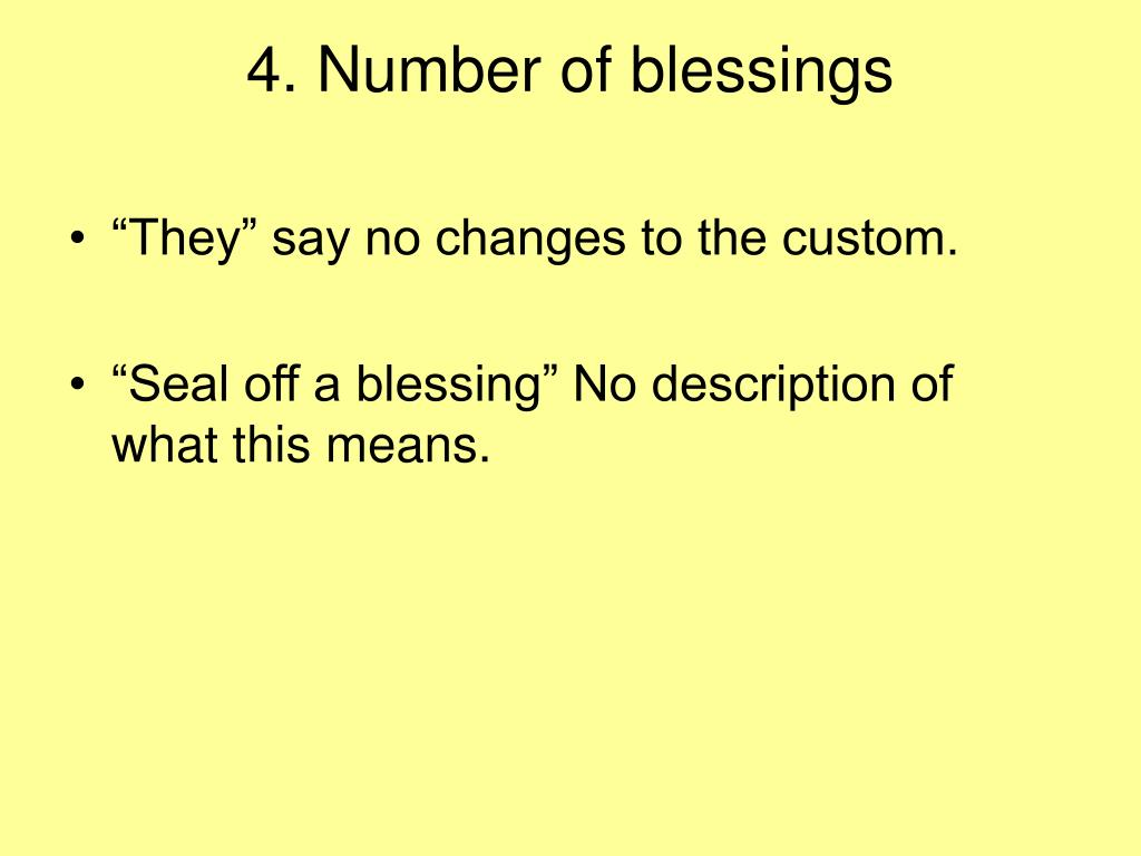 4. Number of blessings