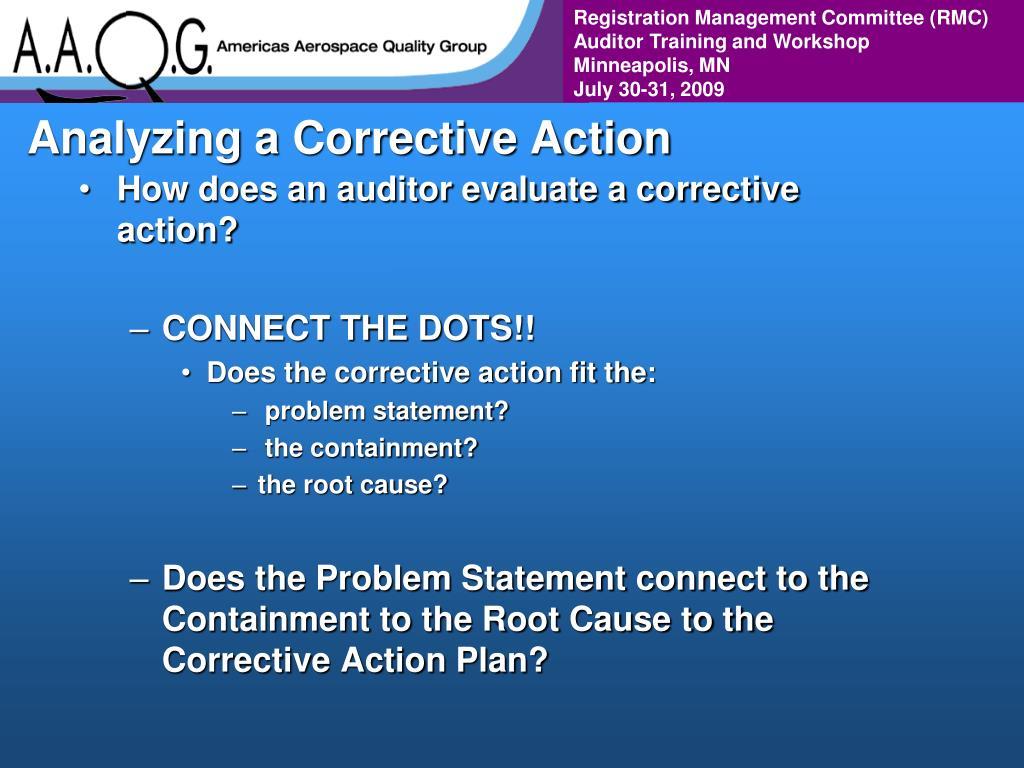 Analyzing a Corrective Action