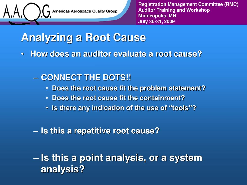 Analyzing a Root Cause