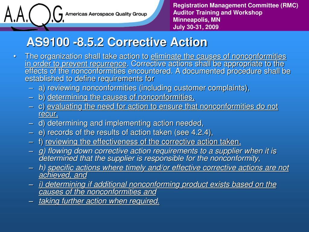 AS9100 -8.5.2 Corrective Action