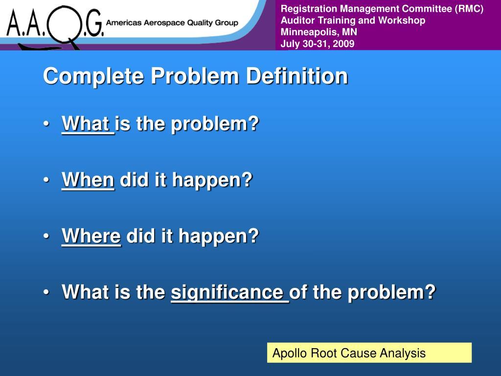 Complete Problem Definition