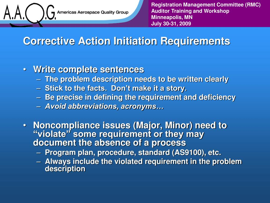 Corrective Action Initiation Requirements