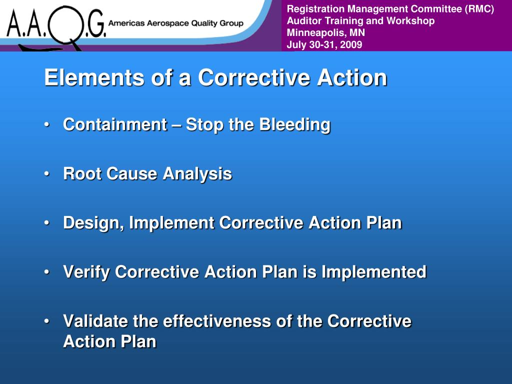 Elements of a Corrective Action
