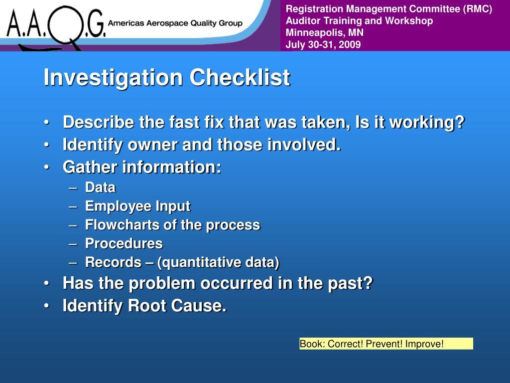 Investigation Checklist