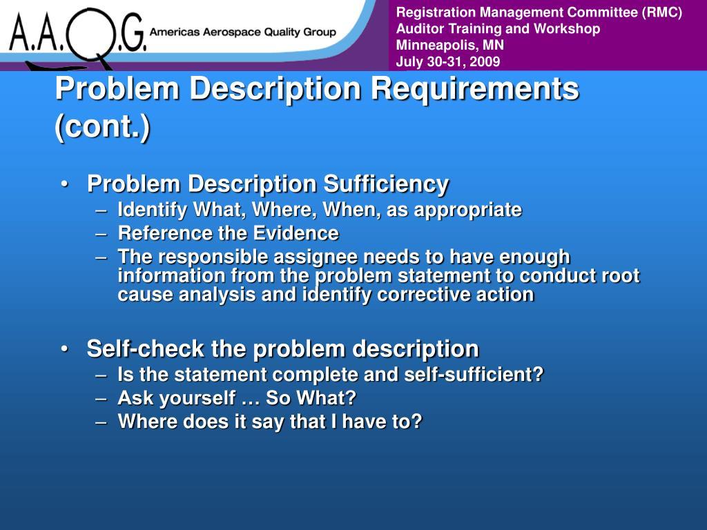 Problem Description Requirements (cont.)