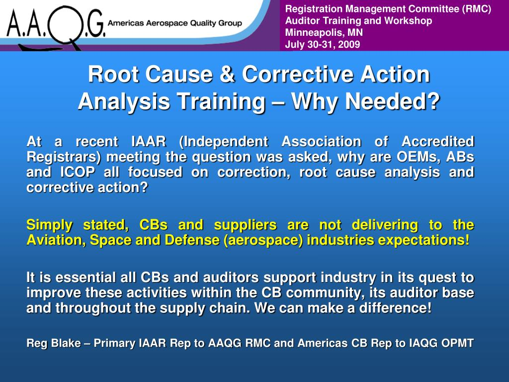 Root Cause & Corrective Action