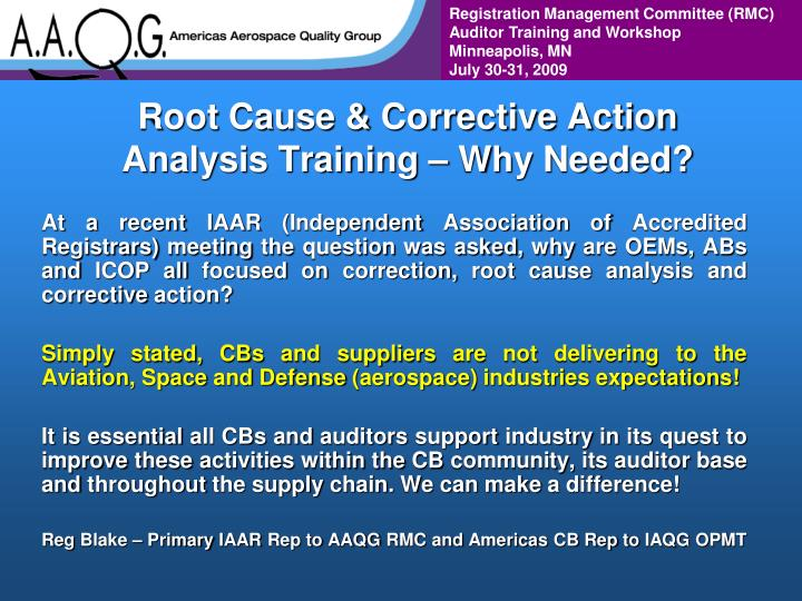 Root cause corrective action analysis training why needed