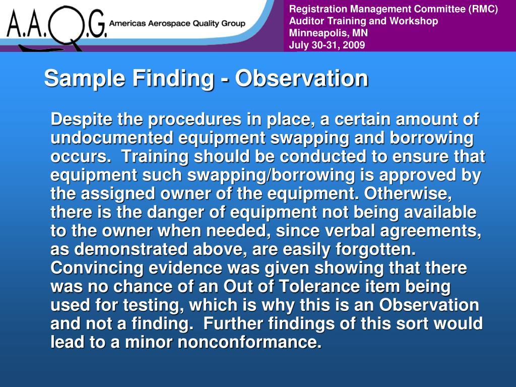 Sample Finding - Observation