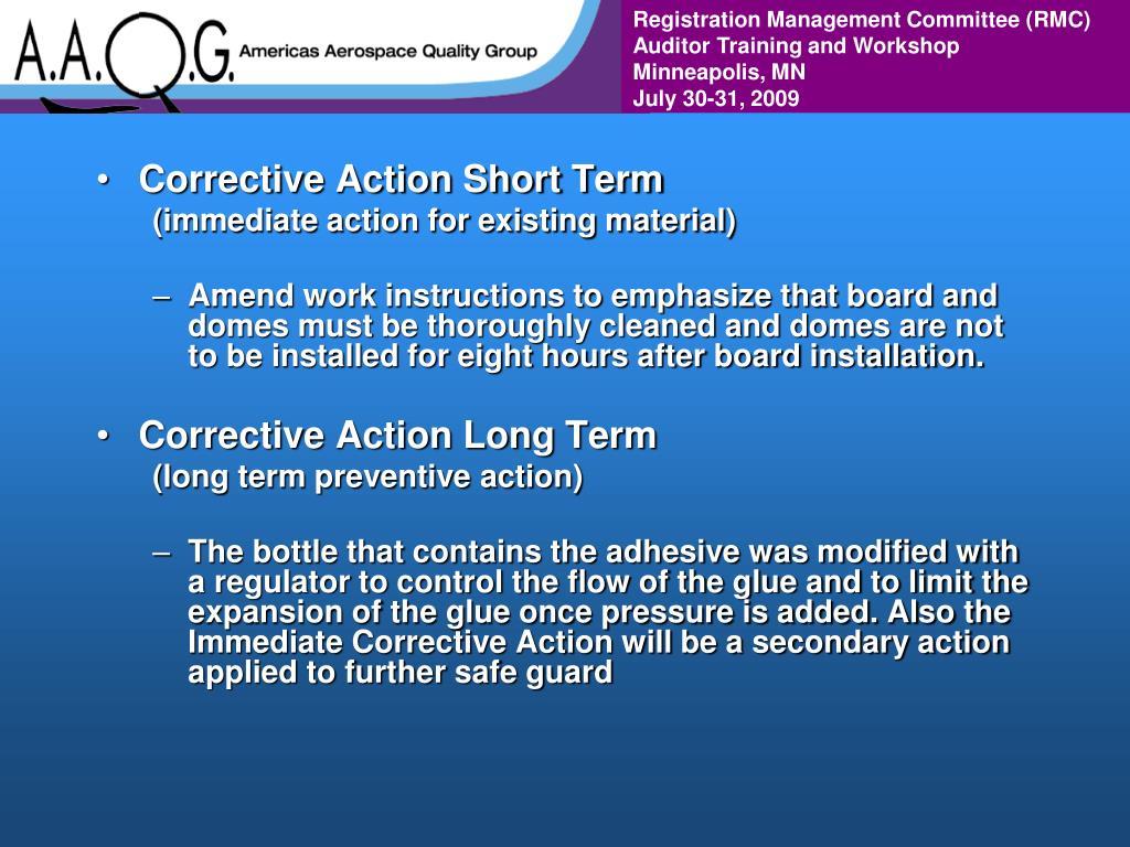 Corrective Action Short Term