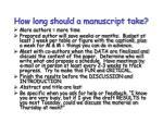 how long should a manuscript take