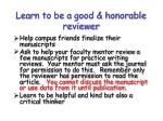 learn to be a good honorable reviewer
