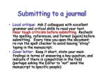 submitting to a journal