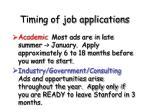 timing of job applications