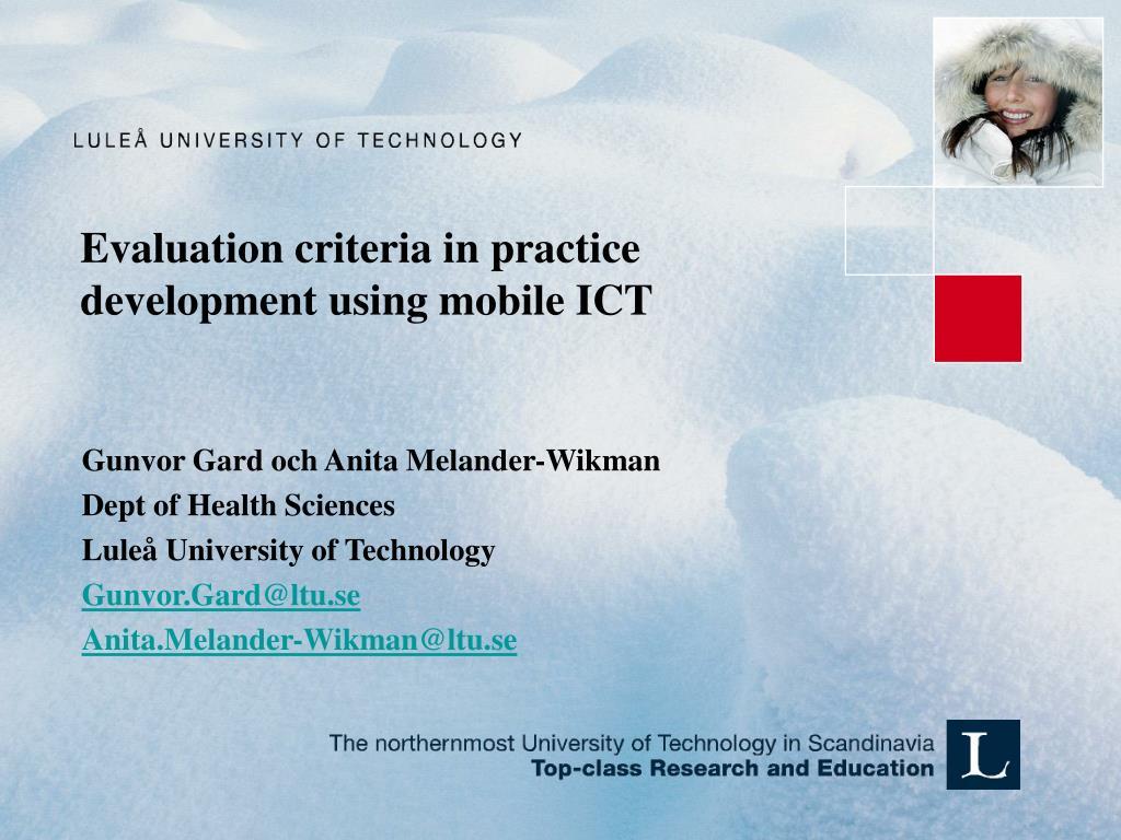 evaluation criteria in practice development using mobile ict l.