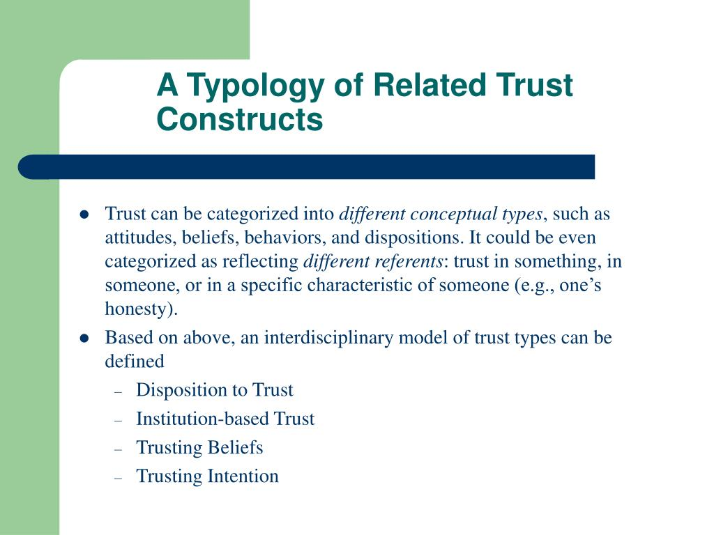 A Typology of Related Trust Constructs