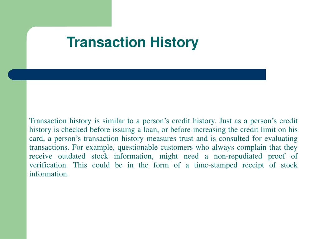 Transaction History