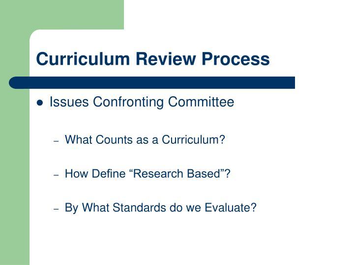 Curriculum review process