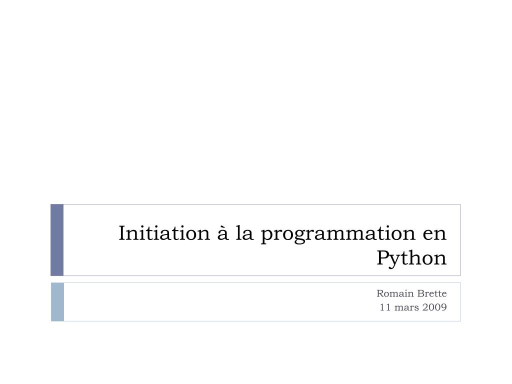initiation la programmation en python l.