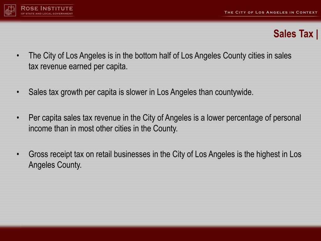 The City of Los Angeles is in the bottom half of Los Angeles County cities in sales tax revenue earned per capita.