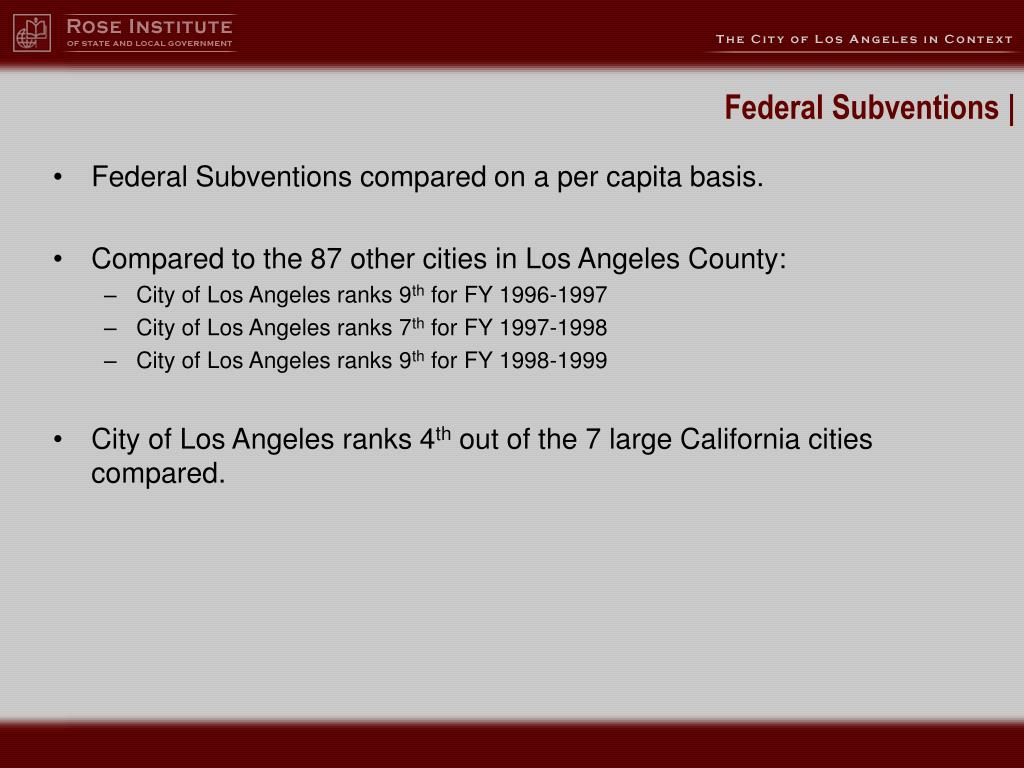 Federal Subventions compared on a per capita basis.