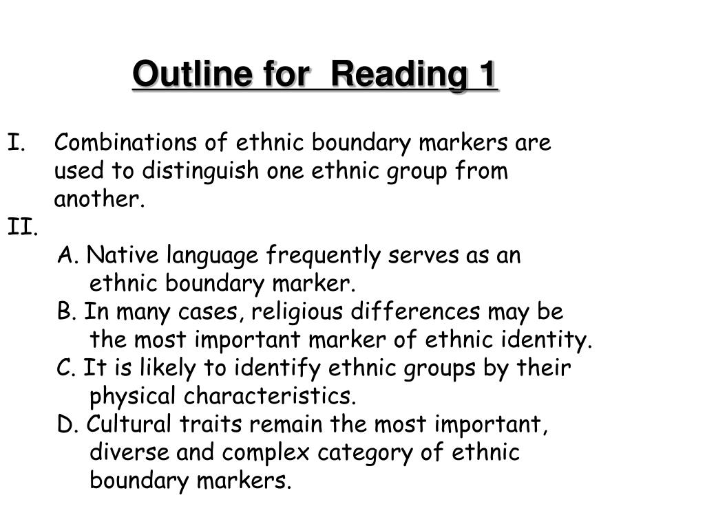 Outline for  Reading 1