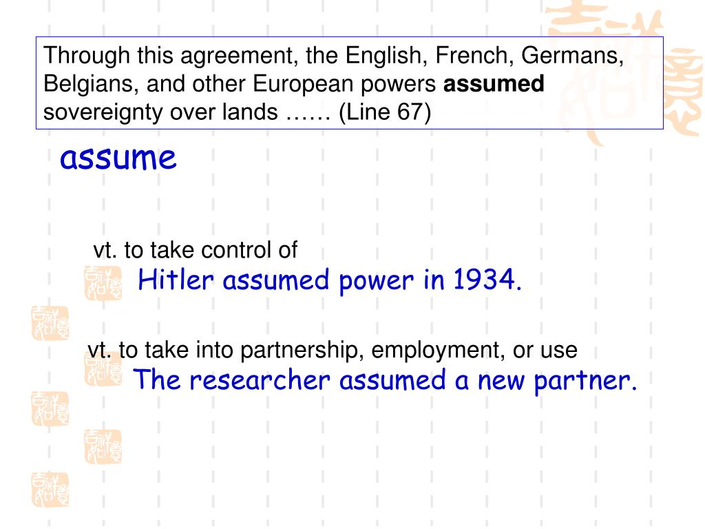 Through this agreement, the English, French, Germans, Belgians, and other European powers