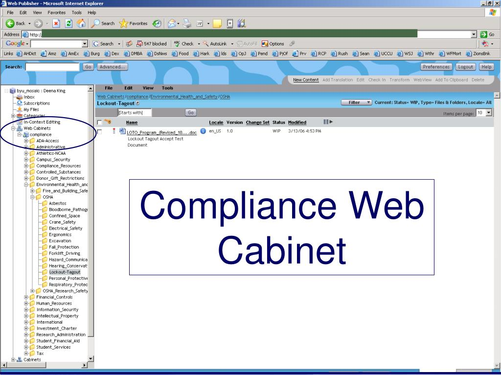 Compliance Web Cabinet