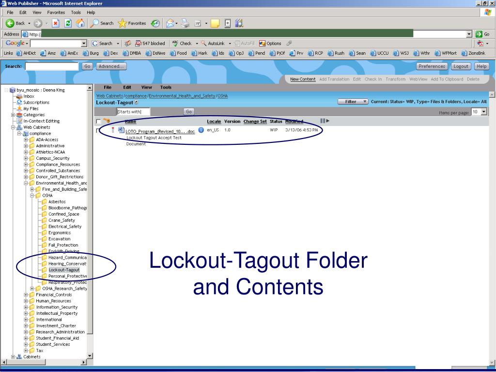 Lockout-Tagout Folder and Contents
