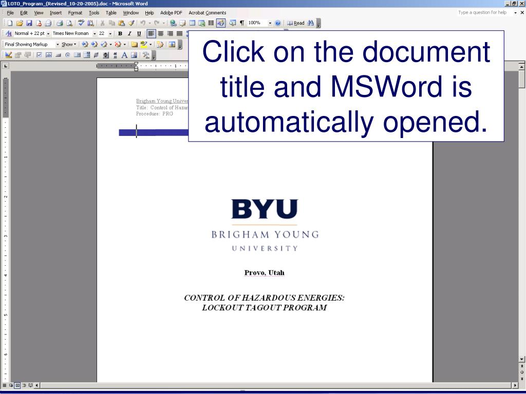 Click on the document title and MSWord is automatically opened.