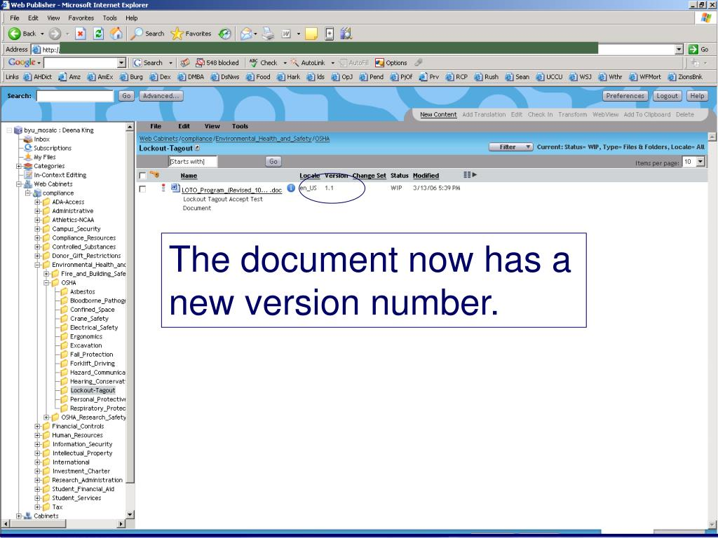 The document now has a new version number.