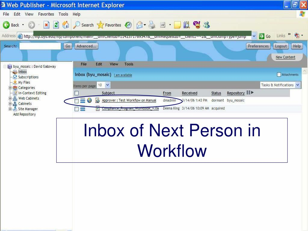 Inbox of Next Person in Workflow