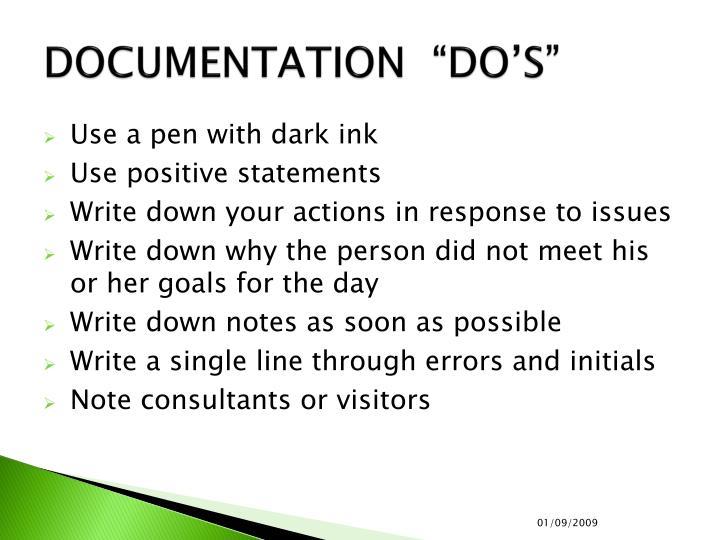 """DOCUMENTATION  """"DO'S"""""""