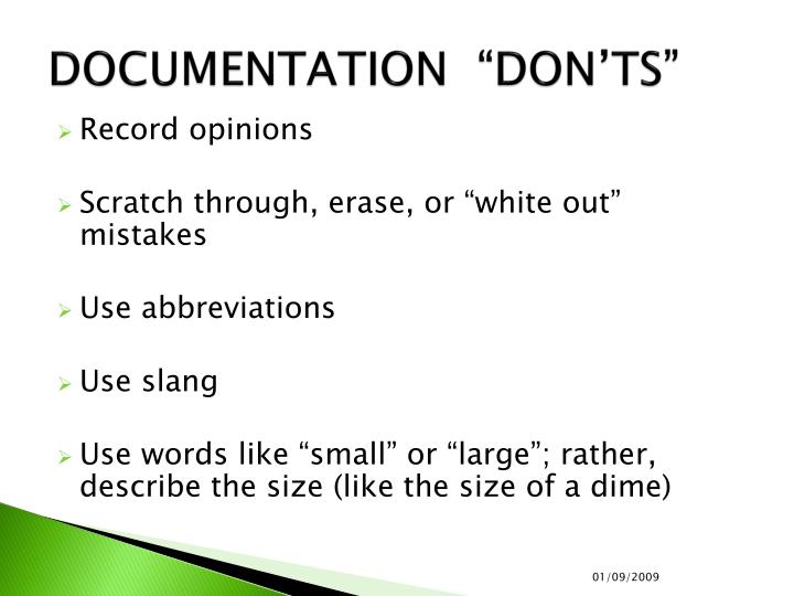 "DOCUMENTATION  ""DON'TS"""