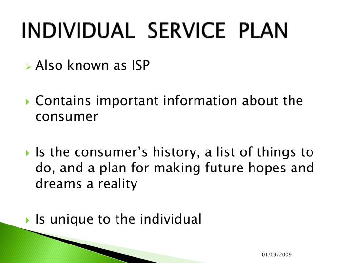 INDIVIDUAL  SERVICE  PLAN