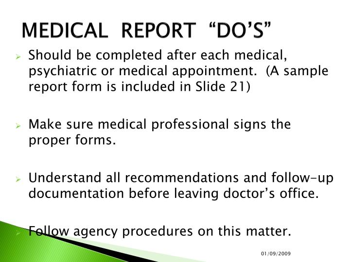 """MEDICAL  REPORT  """"DO'S"""""""
